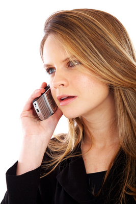 woman on the phone - IRS scam alert - watch out for fraud IRS agents